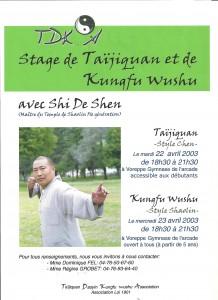 Stage TDKA 2003 avec shi de chen